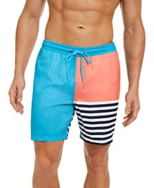 Men's Striped Colorblocked Swim Trunks, Created For Macy's