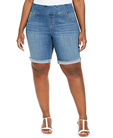 Plus Size Ella Pull-On Denim Shorts, Created For Macy's