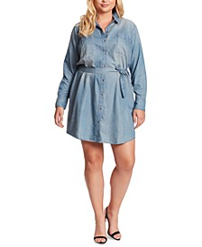 Trendy Plus Size Nyra Denim Shirtdress