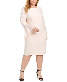 Plus Size Chiffon Bell-Sleeve Sheath Dress