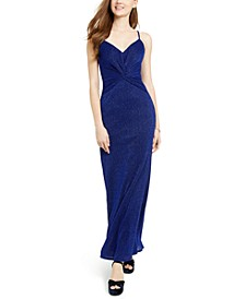 Juniors' Pleated Glitter-Knit Gown