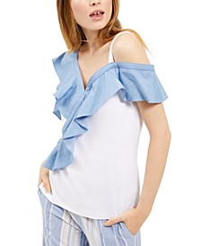 INC Denim Ruffle Top, Created for Macy's