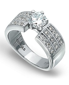 Cubic Zirconia 3 Row Band Ring with Round Prong Set Stone in Fine Silver Plate