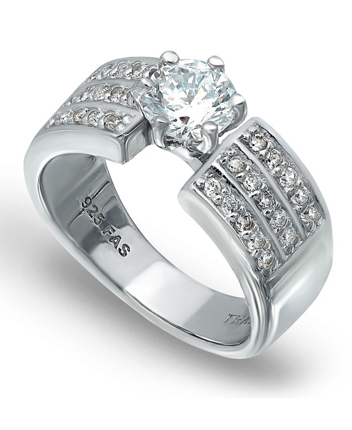 Macy's - Cubic Zirconia 3 Row Band Ring with Round Prong Set Stone in Fine Silver Plate