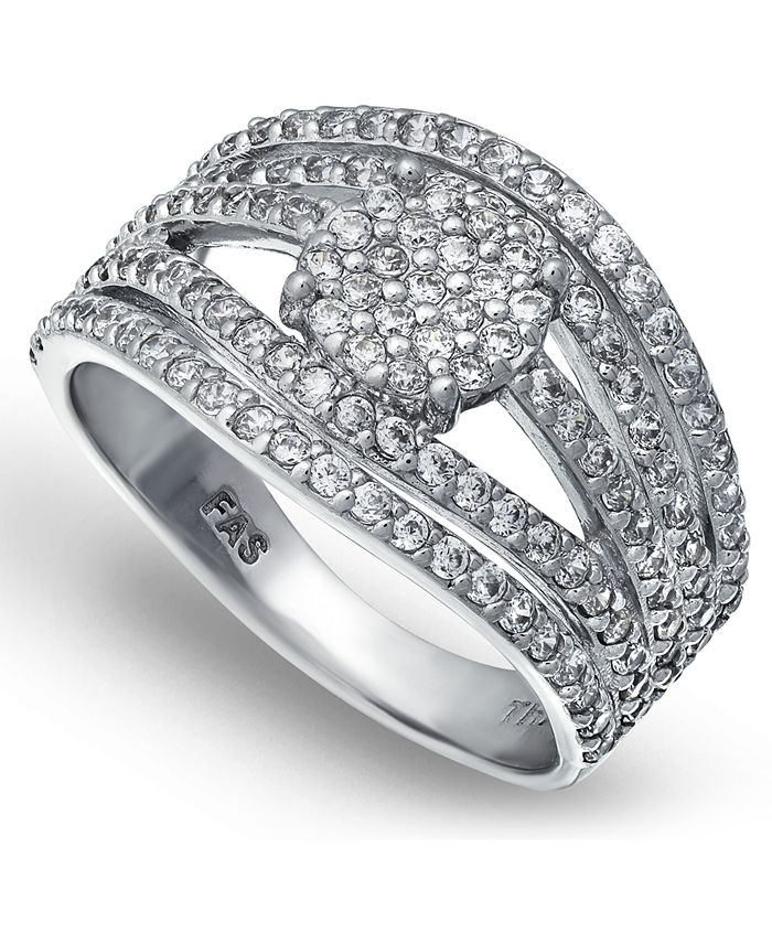 Macy's - Cubic Zirconia Pave Multi Row Ring with Disc Center in Fine Silver Plate