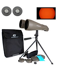 70mm 15 Power Day and Night Binocular with Massive Objective Lenses, Solar Filter Caps and Table Top Tripod and Case