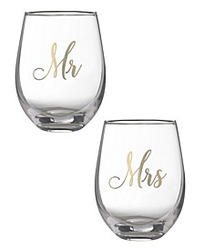 Mr and Mrs Stemless Wine Glass Set