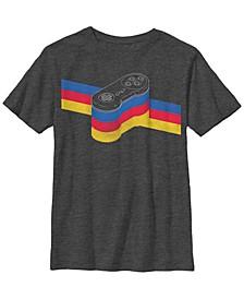 Nintendo Big Boy's Snes Controller Stripe Rainbow Short Sleeve T-Shirt