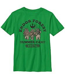Star Wars Big Boy's Endor Forest Summer Camp Z1 Short Sleeve T-Shirt