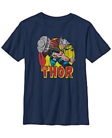 Marvel Big Boys Mighty Thor Hammer Throw Vintage-Like Short Sleeve T-Shirt