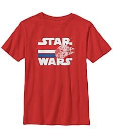 Star Wars Big Boy's Falcon Stripes Red White Blue July 4Th Short Sleeve T-Shirt