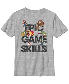 Nintendo Big Boy's Super Mario Epic Game Skills Character Collage Short Sleeve T-Shirt