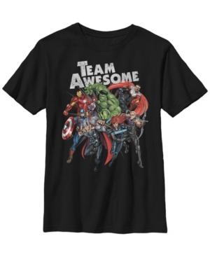 Fifth Sun Kids' Marvel Big Boy's Avengers Assemble Team Awesome Group Huddle Short Sleeve T-shirt In Black