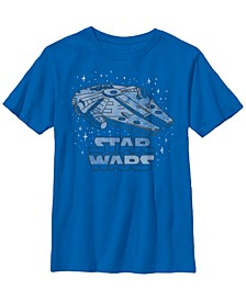 Star Wars Big Boy's Logo Millennium Falcon Stitched Space B1 Short Sleeve T-Shirt