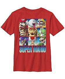 Nintendo Big Boy's Super Mario Character Stack Gradient Short Sleeve T-Shirt