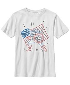 Marvel Big Boys Captain America Patriotic Line Art Short Sleeve T-Shirt