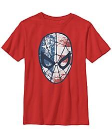 Marvel Big Boy's Spider-Man American Flag Face Vintage-Like Short Sleeve T-Shirt