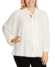 Plus Size Studded Tie-Neck Blouse