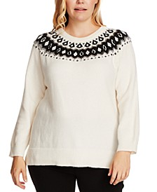 Plus Size Fair Isle Knit Pullover Sweater