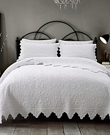 Erica Scalloped Cotton Embroidered Quilt 3-Pc Set