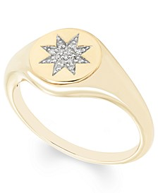 Diamond Accent Starburst Signet Ring in 14K Yellow or Rose Gold