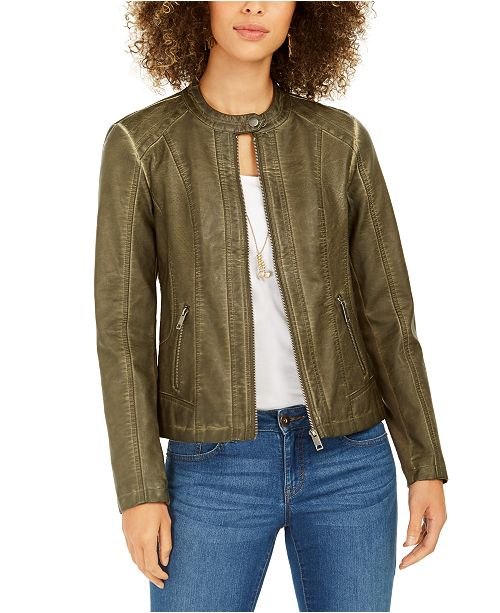 Style & Co Perforated Garment-Dyed Faux-Leather Jacket, Created for Macy's