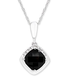 Black Onyx (7 mm) Diamond Accent Necklace in 14k White Gold