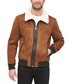 Men's Faux Shearling Bomber Jacket with Faux Fur Collar, Created for Macy's