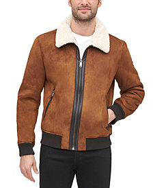 DKNY Men's Faux Shearling Bomber Jacket with Faux Fur Collar, Created for Macy's