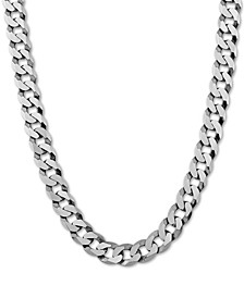 "Flat Curb Link 24"" Chain Necklace in Sterling Silver"