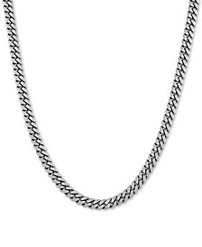 "Cuban Link 24"" Chain Necklace in Sterling Silver"