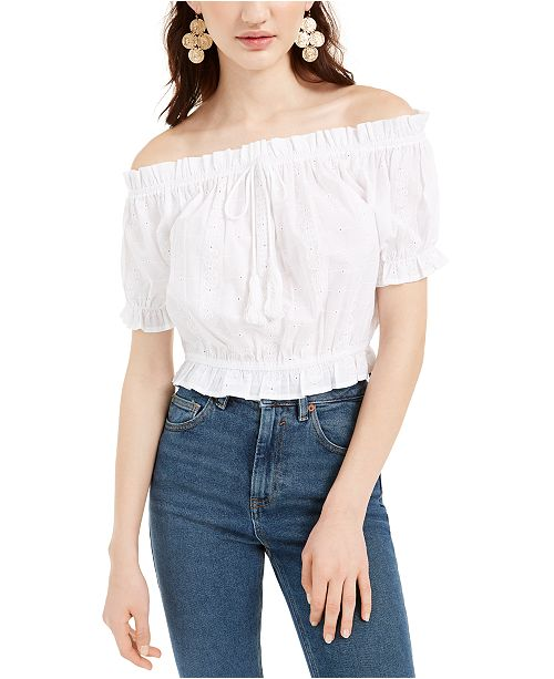 Planet Gold Juniors' Off-The-Shoulder Eyelet Top