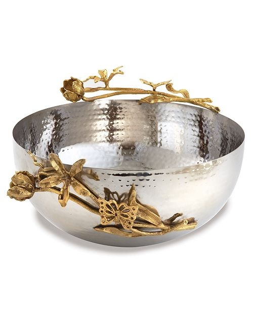 Leeber Butterfly Hammered Stainless Steel Centerpiece Bowl