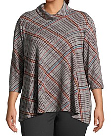 Plus Size Plaid Cowlneck Top