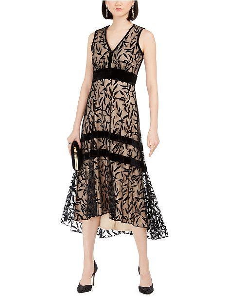 Taylor V-Neck Velvet-Flocked Maxi Dress