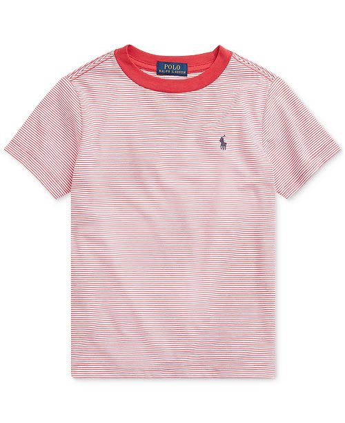 Polo Ralph Lauren Toddler Boys Striped Cotton-Blend Crewneck T-Shirt