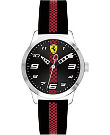 Kid's Pitline Red & Black Silicone Strap Watch 34mm