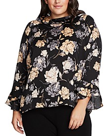 Plus Size Printed Bell-Sleeve Top
