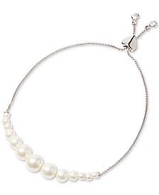 Silver-Tone Pavé & Imitation Pearl Slider Bracelet