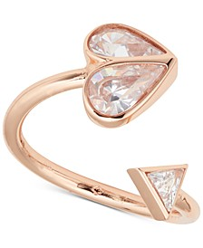 Rose Gold-Tone Crystal Heart Twisted Ring