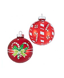 80MM Matte and Shiny Red with Candy Canes Glass Ball Ornaments, 6 Piece Box