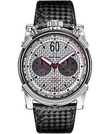 Men's Swiss Chronograph Carbon Fiber Black Leather Strap Watch 44mm