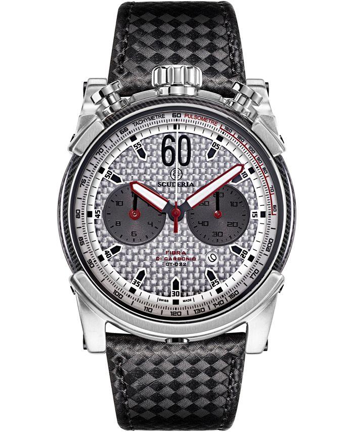 CT Scuderia - Men's Swiss Chronograph Carbon Fiber Black Leather Strap Watch 44mm