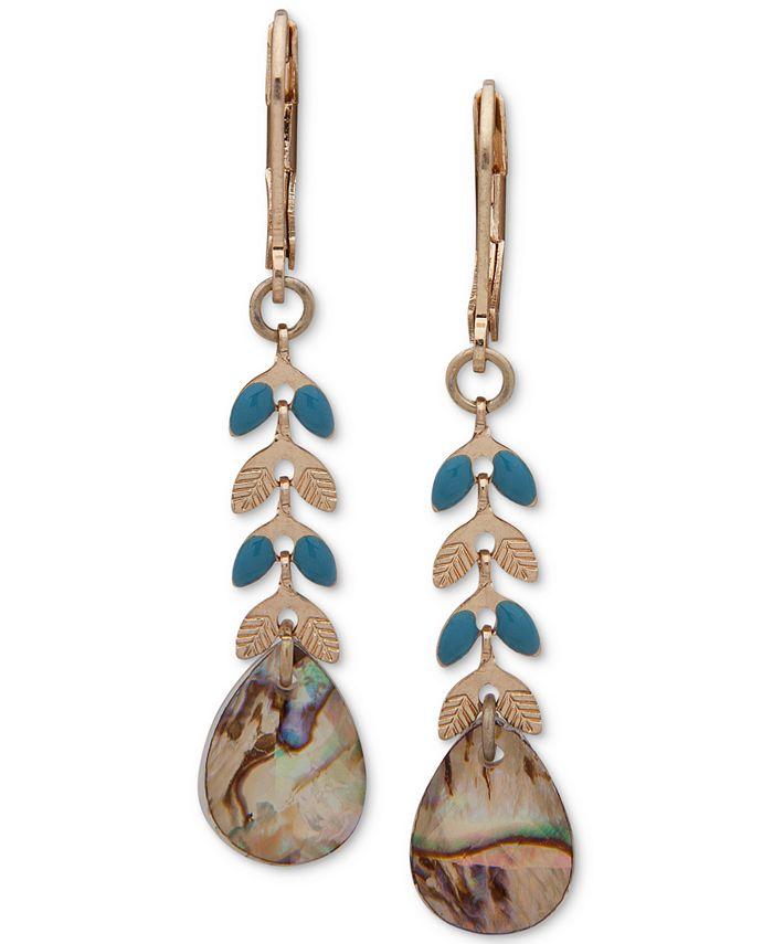 lonna & lilly - Gold-Tone Blue-Green Linear Drop Earrings