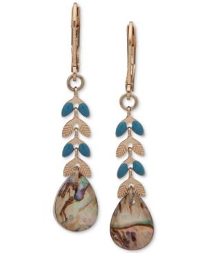 Gold-Tone Blue-Green Linear Drop Earrings
