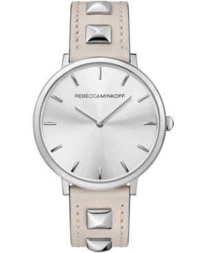 Rebecca Minkoff Watches WOMEN'S MAJOR PUTTY-GRAY STUDDED LEATHER STRAP WATCH 35MM