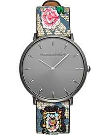 Women's Major Embroidered Leather Strap Watch 35mm