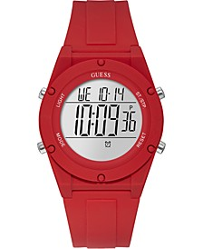 Digital Red Silicone Strap Watch 42mm