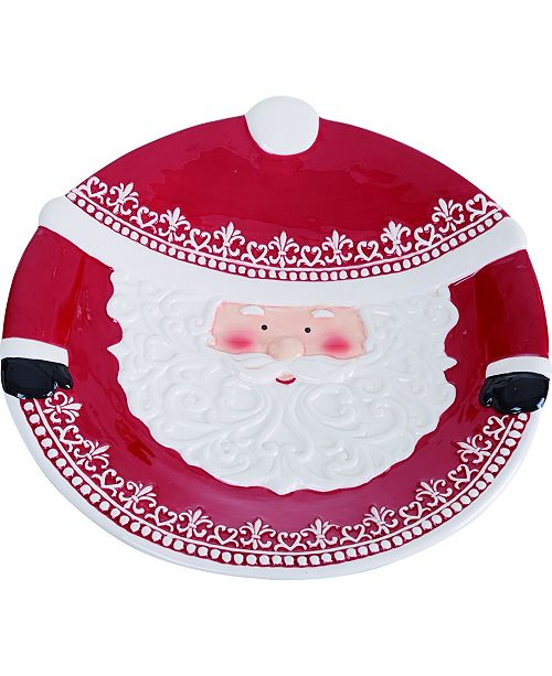 Trans Pac Dolomite Red Christmas Santa Platter