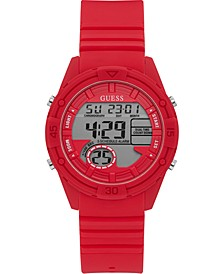 Digital Red Silicone Strap Watch 40mm